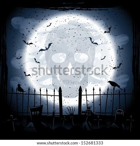 Scary Halloween night background, skull on Moon background, illustration. - stock photo