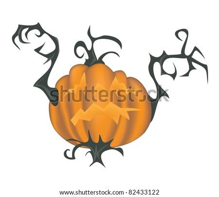 Scary halloween pumpkin - illustration isolated on white - raster version of vector ID 81927337 - stock photo