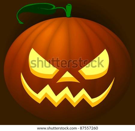 Scary halloween pumpkin lantern on dark background - stock photo