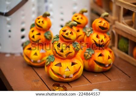 Scary halloween pumpkins Jack O Lanterns - stock photo
