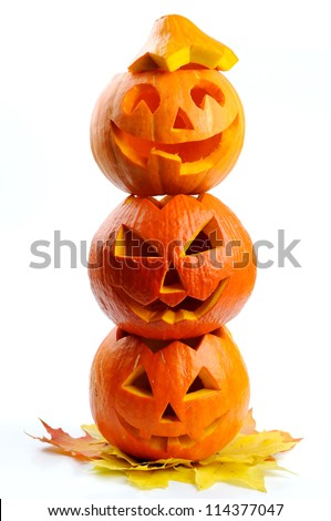 Scary halloween pumpkins Jack O Lanterns isolated on white background - stock photo