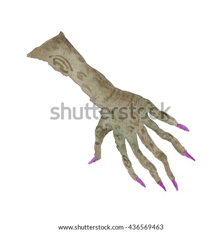 Scary Hand witch halloween Watercolor Illustration Isolated on the white - stock photo