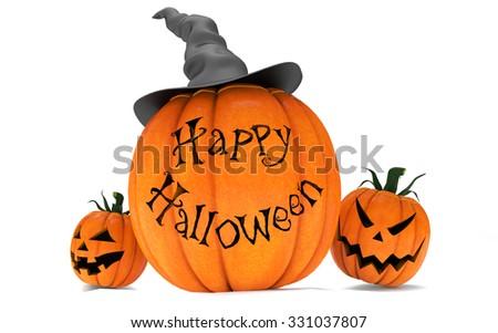 Scary Jack O Lantern halloween pumpkins wearing black witch hat, 3d render - stock photo