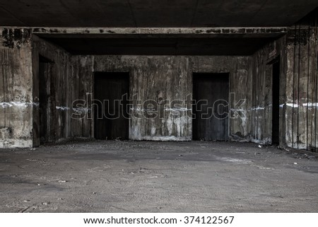 scary lift hall in abandoned building  - stock photo