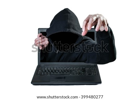 Scary man without face reaching out from the computer, danger from network - stock photo