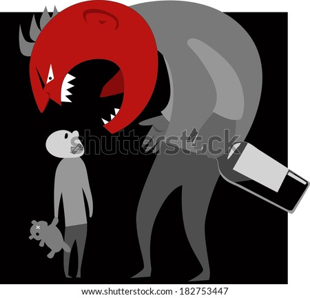 Scary monster parent with a bottle of alcohol in his hand yelling at scared silenced child - stock photo