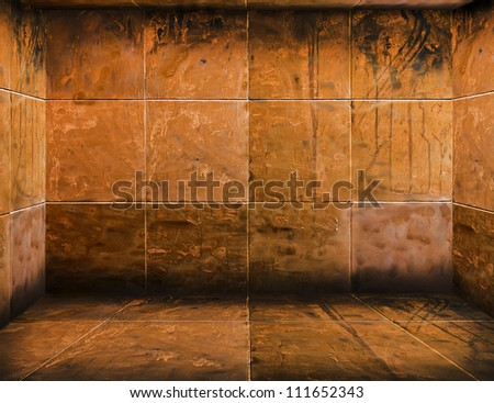 scary mosaic 4 walls room (Grunge Room) background - stock photo