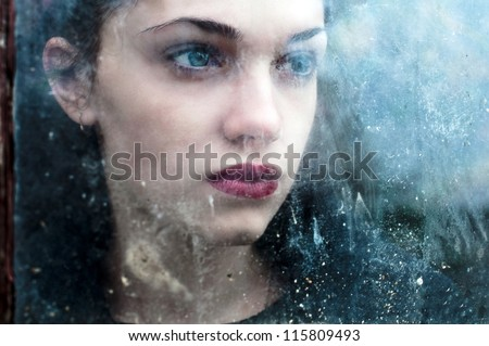 scary portrait of young beautiful woman - stock photo
