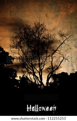 Scary trees at halloween night. - stock photo