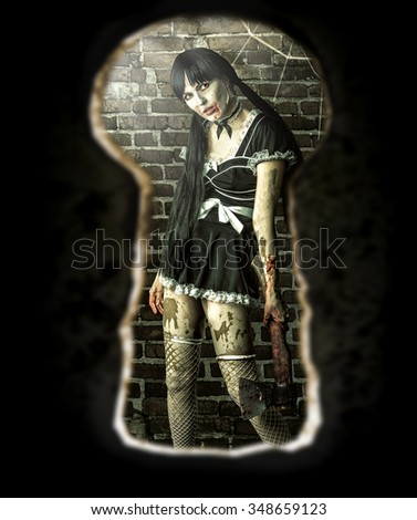 Scary zombie woman with bloody axe in old room - view of the keyhole of the door - stock photo