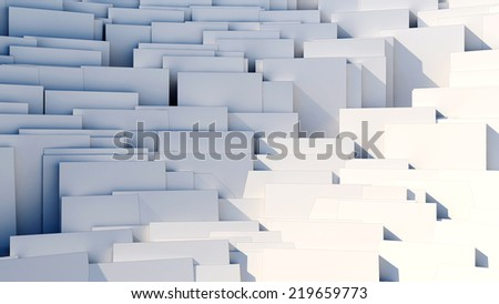 scattered 3d white cubes - 8k abstract background - stock photo