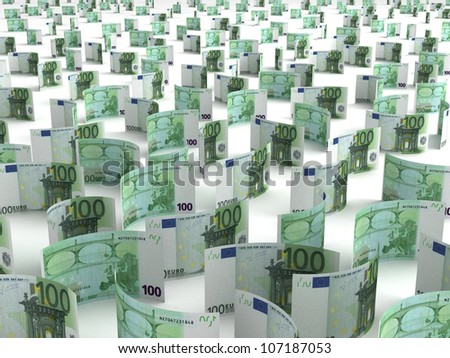 Scattered Euro - stock photo