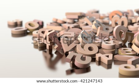scattered numbers, 3d illustration   - stock photo