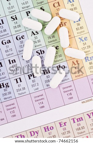 Scattered Pills on Periodic Table of Elements - stock photo