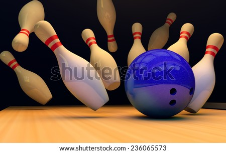 Scattered skittles and bowling ball  .3D - stock photo