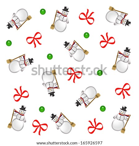 scattered snowmen red bows and green ornaments illustration - stock photo