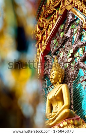 Scene at a Buddhist Temple - stock photo