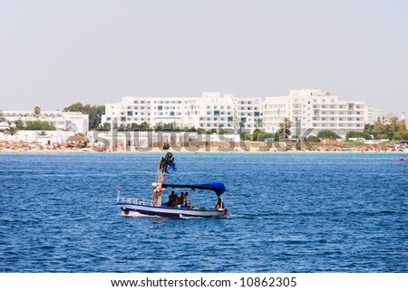 Scene at mediterranean beach resort in Tunisia. - stock photo