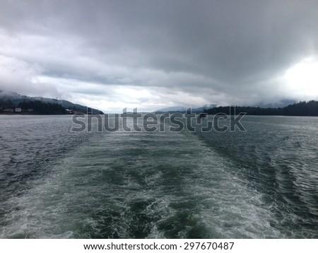 Scene from the Tongass Narrows near Ketchikan Alaska. - stock photo