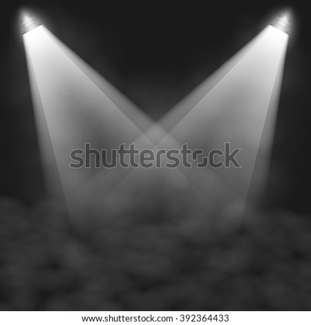 Scene illumination, transparent effects on a plaid dark  background. Bright lighting with isolated spotlights. Graphic illustration  - stock photo