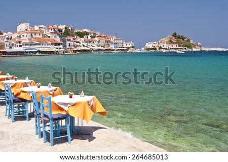 Scene in Kokkari on Samos, Greece - stock photo