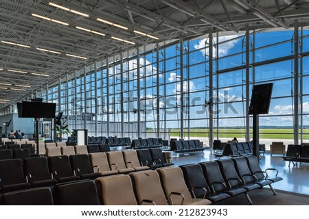 Scene of airport boarding gate - stock photo