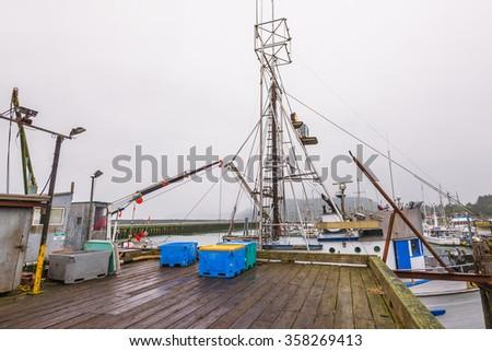 scene of  fishing dock  in the morning. - stock photo
