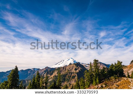 scene of mt baker from Artist point hiking area,scenic view in Mt. Baker Snoqualmie National Forest Park,Washington,USA. - stock photo