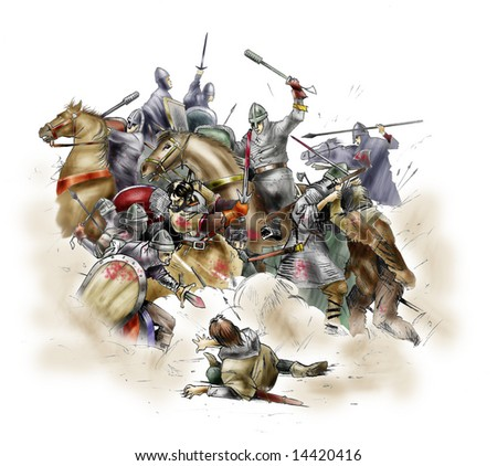 Scene of the battle of Hastings of 1066 - stock photo