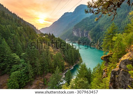 scene over Diablo lake when sunrise in the early morning in North Cascade national park,Wa,Usa - stock photo