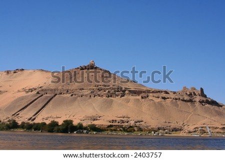 scenery at river nile at assuan - stock photo