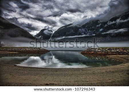 Scenery near Flam and Aurland - Norway, Scandinavia, Europe. Beautiful fjord and coast. Incredible clouds. Sogn district. - stock photo