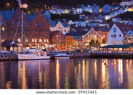 Scenery of Bryggen in Bergen, Norway - stock photo