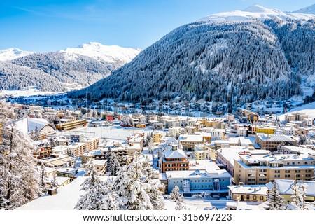 Scenery of famous ice skating in  winter resort Davos, Switzerland. - stock photo