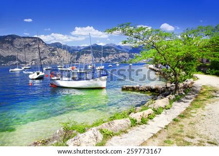 scenery of Lago di Garda- beautiful lake in northen Italy - stock photo