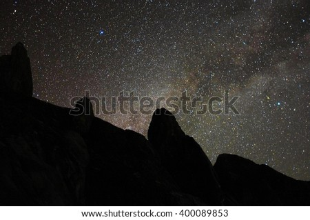 Scenery of milkyway at summit of Mountain Kinabalu,Ranau,Sabah. Image contains visible noise due to high ISO, soft focus, shallow DOF, slight motion blur.  - stock photo