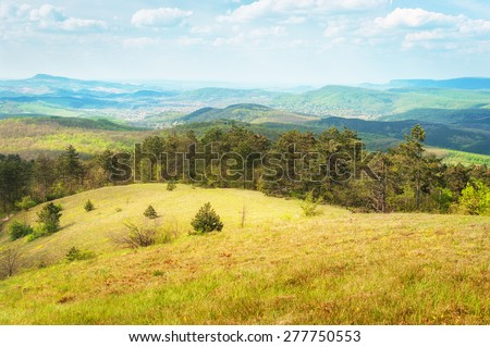 Scenery of rolling hills landscape. - stock photo