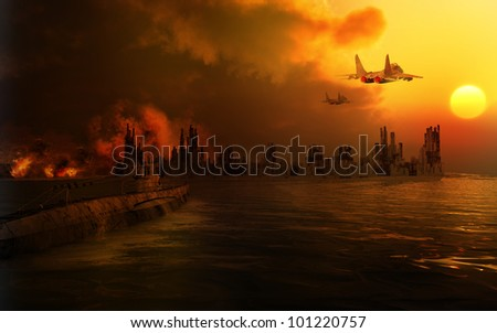 Scenery of the destroyed city - stock photo