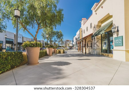 Scenery of the mall shopping street - stock photo