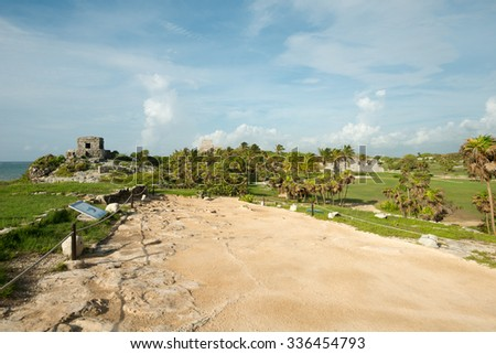 Scenery of the Tulum Ruins in  Mexico - stock photo