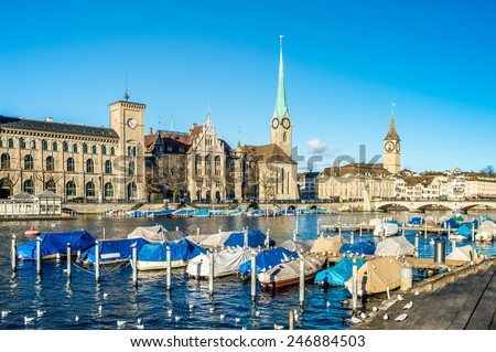 Scenery of Zurich in sunny winter day. - stock photo