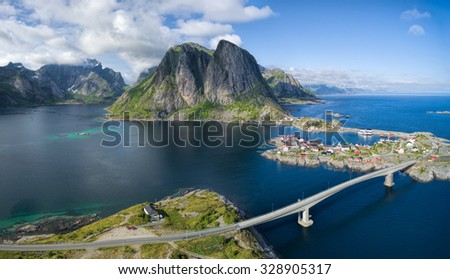 Scenic aerial panorama of fishing village Hamnoya on Lofoten islands in Norway, famous for its beautiful scenery - stock photo