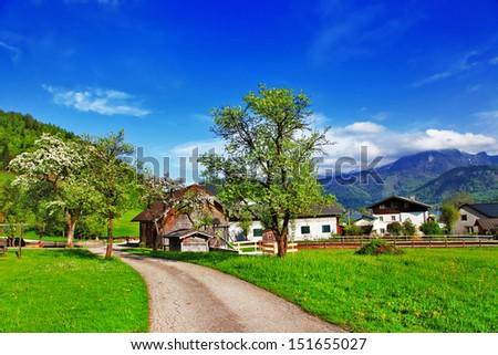 scenic Alpine countryside, Austria - stock photo