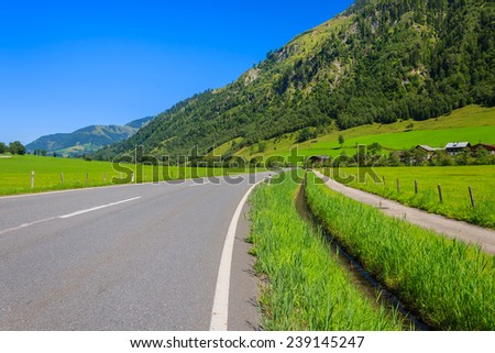 Scenic alpine mountain road in summer, Austria - stock photo