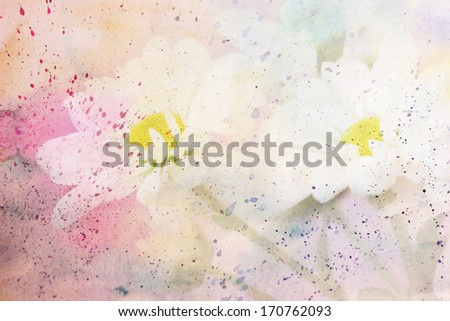 scenic artwork with chamomiles and watercolor splashes - stock photo
