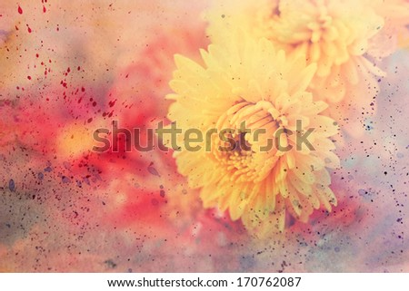 scenic artwork with yellow asters and watercolor splatter - stock photo