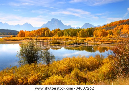 Scenic autumn landscape in Grand Tetons from Oxbow bend - stock photo