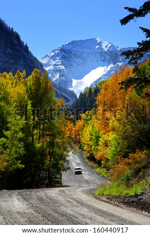 Scenic back road driving in Colorado San Juan mountains - stock photo