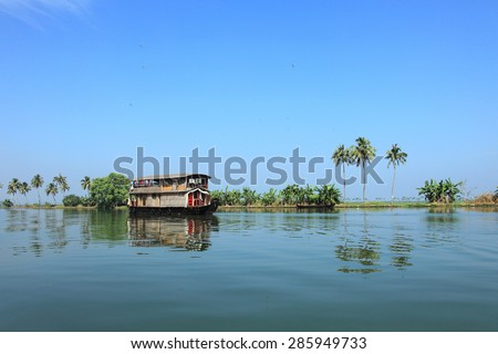 Scenic backwater destinations of Kerala, India. - stock photo