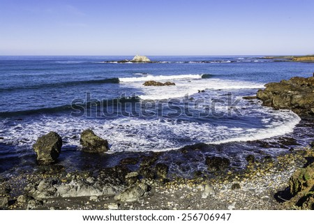 Scenic Beach and Cliffs on the Big Sur Highway (Highway 1) and Coastline. California Central Coast, near Cambria, CA.  - stock photo